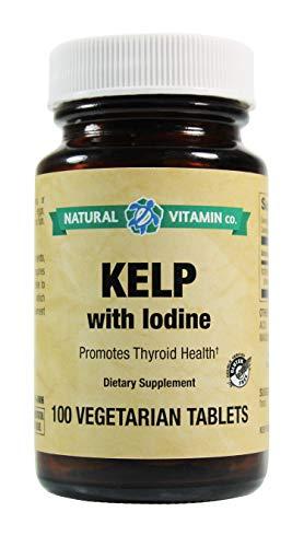Natural Vitamin Co. - Kelp with Iodine, Iodine (from kelp, Potassium Iodide) 225mcg, 100 Tablets, 3+ Month Supply, Gluten Free, Vegetarian, Vegan