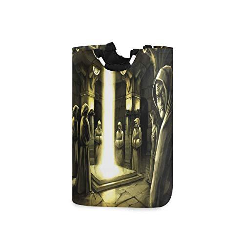 DYCBNESS Cesto para la Colada,Ritual místico en el Edificio Oscuro con monjes Magia Sagrada Espiritual,Cesta de lavandería Plegable Grande,Cesto de Ropa Plegable,Papelera de Lavado Plegable