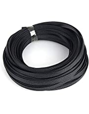 ROSEBEAR 10mm Uitbreidbare Gevlochten PET Sleeving Kabel,Hoge Dicht Split Wire Loom Gevlochten Kabelhuls Management en Organizer Cord Protectors 10m Zwart