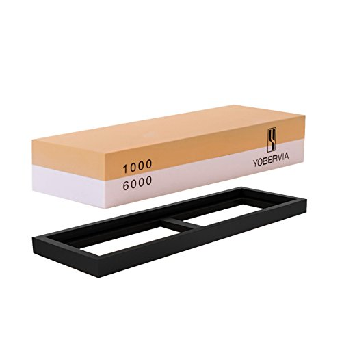 Knife Sharpening Stone, 2-Sided Whetstone with Non-Slip Base, Best Kitchen Blade Sharpener, Grit 1000/6000 Waterstone