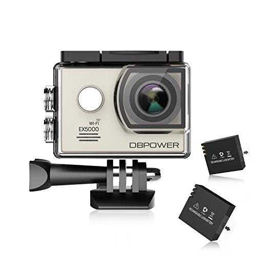 DBPOWER Original EX5000 - Action camera 14MP Full HD, WiFi, impermeabile, con 2batterie migliorate + accessori, argento