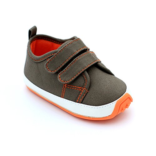Kuner Baby Boys Girls Cotton Rubber Sole Outdoor Sneaker First Walkers Shoes (12.5cm(9-12months)) Dark Green
