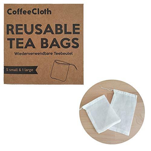 Earthtopia CoffeeCloth 6er Set Wiederverwendbare Teebeutel aus Stoff | 100% Bio-Baumwolle | Teefilter Permanentfilter Mehrwegfilter Dauerfilter (5X klein, 1x groß)