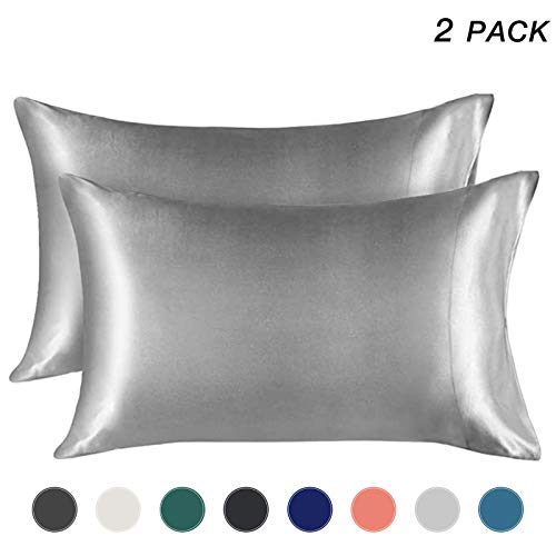EXQ Home Silky Satin Pillowcase for Hair and Skin,Soft Grey Pillow Cases Queen Size Set of 2 Satin Pillow Case with Envelope Closure No Zipper Silver Grey( 20x30 inches)