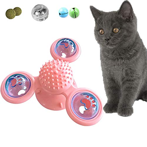 JuoPool Windmill Cat Toy, Interactive Cat Toys for Indoor Cats, Funny Turntable Kitten Toys with Catnips & Bells & Light Ball for Tickle Scratch Chew and Tooth Brushing (Pink)