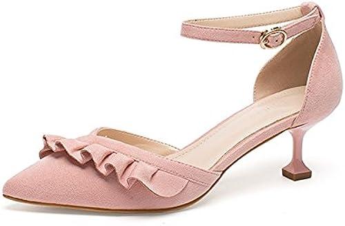Amazing Sandalen Frühling und Sommer Sommer Sommer Wort Schnalle spitzen Damenschuhe mittlerer Ferse dick mit einzelnen Schuhe High Heels ( Farbe   A , Größe   EU36 UK3.5 CN35 )  Großhandelpreise