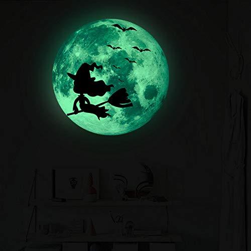 TYLPK Hexe, die auf dem Besen auf den Wandaufklebern sitzt Halloween-leuchtende Aufkleberwohnzimmer-Schlafzimmerhintergrund-Wandausgangsdekoration