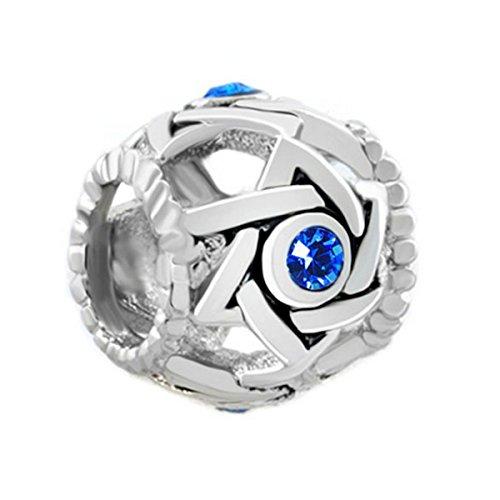 MYD Jewellery - Pulsera de cuentas espaciadoras para mujer, diseño de estrella de David con cristales azules