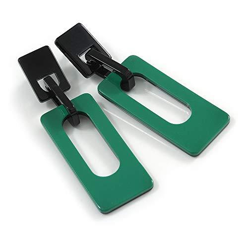 Statement Green/Black Square Acrylic Drop Earrings - 90mm Long