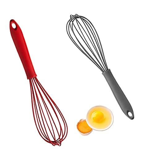 N/U - Batidor de silicona (2 unidades, batidor de silicona, agitador de silicona, batidor manual, utilizado en la batidor de cocina, rejuvenecer, rojo y gris alto)