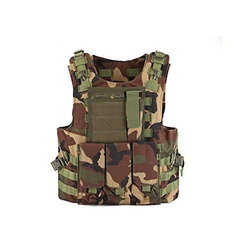 QMFIVE Chalecos Tácticos, Anfibio Chaleco táctico Militar Molle Chaleco Combate Asalto Placa Camuflaje Chaleco del Portador para tactico Airsoft Outdoor (WC)