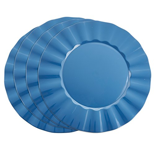 "SARO LIFESTYLE Collection Metallic Ruffle Design Round Charger Plate, 13"", Blue"