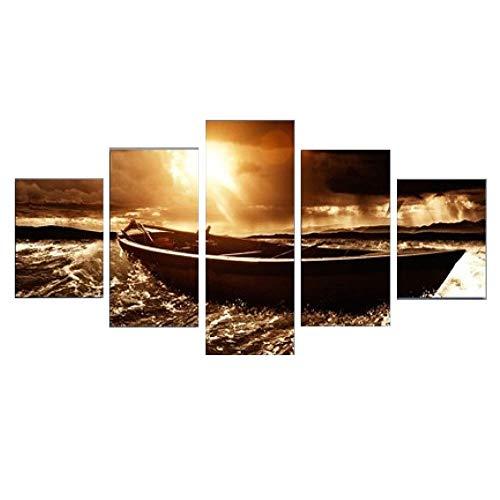 SailorMJY Vlies Leinwandbild,Deko Kunstdrucke, Boot Sonnenuntergang 5 Panel Wandkunst Malerei Home Office Wohnzimmer Schlafzimmer Wanddekoration Malerei kein Rahme