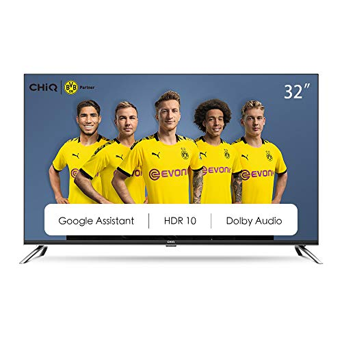 CHiQ L32H7A, 32 Zoll (80 cm), Android 9.0, Smart TV, HD, WiFi, Bluetooth, Google Assistant, Netflix, Prime Video, HDMI, USB, Schwarz/Silber.