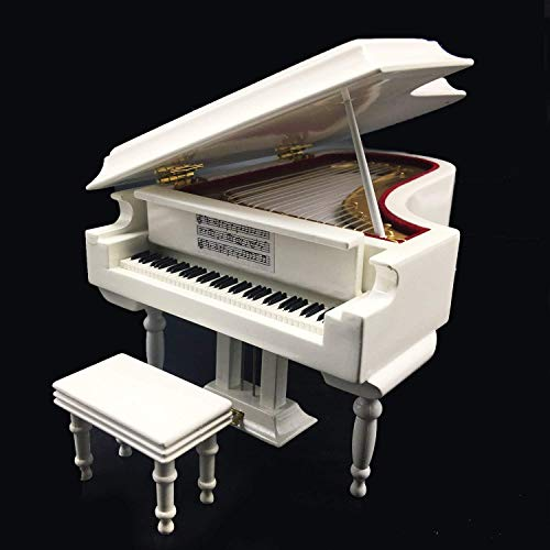 Mylifestyle White Piano Music Box with Bench and Black Case Musical Boxes Gift for Christmas/Birthday/Valentine's Day, Melody Canon