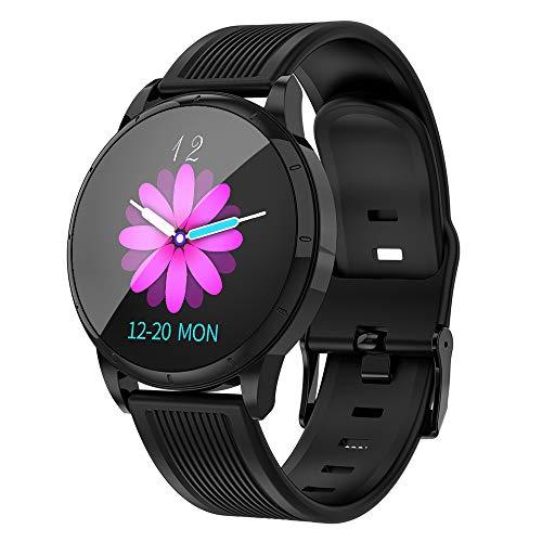 Smartwatch met 1,22 inch IPS HD touchscreen, IP67 waterdichte fitnesstracker stappenteller polsband monitor hartslag herinnering, zwart