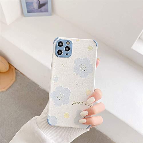 Estuche para teléfono a la moda y lindo con flores en relieve, adecuado para iPhone11 / 12 pro Max / 7 / 8p Protección de lente de borde suave de silicona líquida, protección de 360 grados