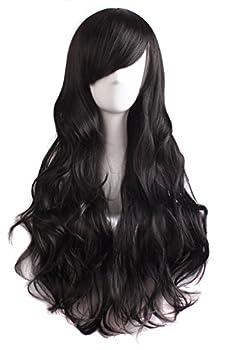MapofBeauty 28 Inch/70 cm Charming Women s Long Curly Full Hair Wig  Black