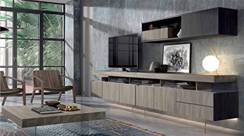 ambiato Design Wohnwand Royal 12 Schrankwand Anbauwand XXL Farbauswahl 303x148x45,2 cm Lowboard Highboard mit Glas