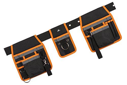 Case4Life Nero/Arancione Cintura Utensile Marsupio Borsa a Grembiule per Attrezzi - Carpentiere Falegname Muratore Tasca Chiodi - Garanzia a vita
