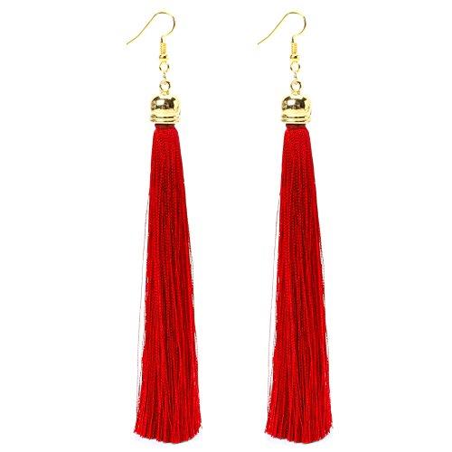 MYhose 1 par de Pendientes Colgantes Largos Vintage Tel con Flecos de Hilo Pendiente de Gota para Mujer Pendiente Rojo