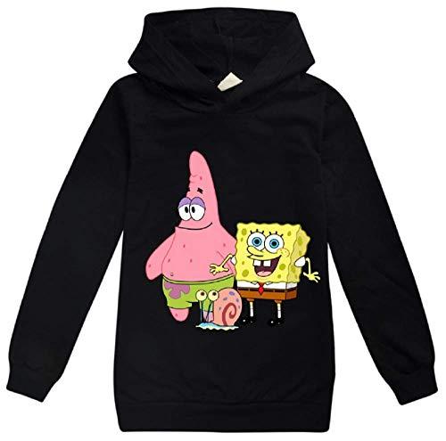 Kinder Spongebob Pullover mit Kapuze, langärmelig, T-Shirt für Jungen und Mädchen Gr. 104, Schwarz