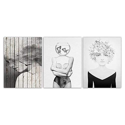 Nordic aquarel grijs meisjes poster kunstdruk canvas zwart wit schilderij voor de woonkamer Scandinavische decoratie wandafbeeldingen 40x60cmx3 niet ingelijst