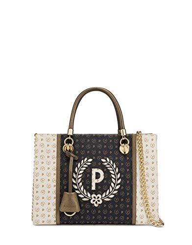 Pollini Borsa a mano con tracolla removibile Heritage pvc colore avorio/nero/bronzo - TE8406PP02Q5210A