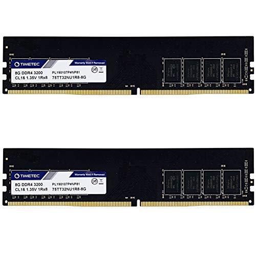 Timetec Extreme Performance Hynix IC 16GB KIT(2x8GB) DDR4 3200MHz PC4-25600 CL16 1.35V Unbuffered Non-ECC for Gaming and High-Performance Desktop Memory (16GB KIT(2x8GB))