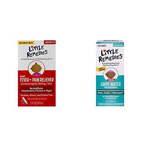 Little Remedies Infant Fever & Pain Reliever | Natural Berry Flavor | 2 FL OZ w/Little Remedies Fast Acting Gripe Water | Safe for Newborns | 4 FL OZ