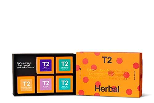T2 Tea Five Herbal- 5 Mini Gift Cubes of Classic Loose Leaf Herbal Tea in Gift Pack, 95g