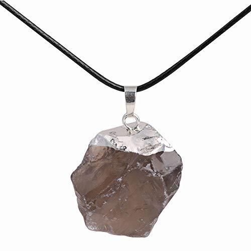 GEM-Inside Raw Crude Natural Smoky Rock Quartz Crystal Pendant 1.41' Dowsing Chakra Pendulum for Divination Real Stone Reiki Necklaces for Women Energy