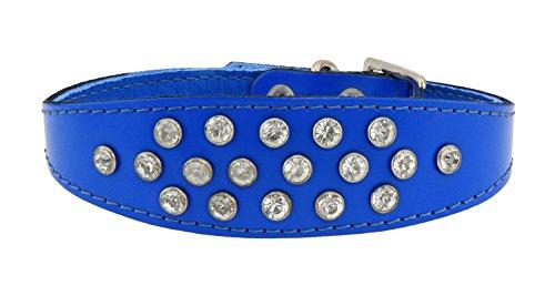 Sportymax® coollar exclusieve kristallen hondenhalsband in verschillende kleuren en lengtes, Halsumfang 20-25cm, blauw