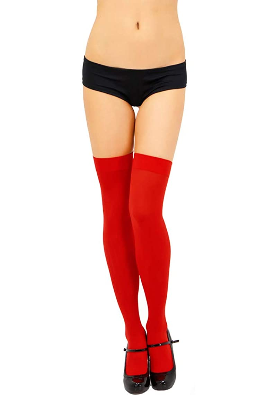 ThreeH 2 Pairs Women's Thigh-High Stockings Knee High Socks Opaque Nylon Tights