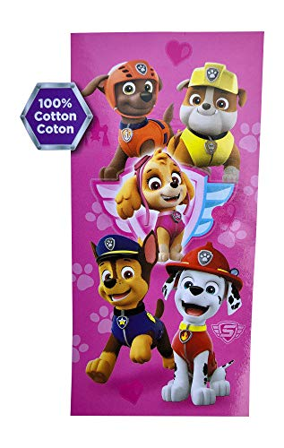 Paw Patrol Beach Towel 58 X 28 Inches | Summer Beach & Pool Towel 100% Soft Cotton Fabric | Marshall Chase Rubble | Character Beach Towel (Pink Paw Patrol)