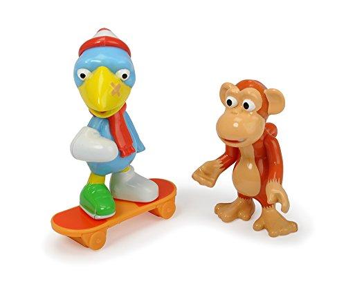 Dickie Toys - Helden der Stadt, das Figuren-Set mit Kasimir Krähe und Anton dem Affen, inkl. Skateboard mit Freilauf und Sammelkarte mit Geheimcode