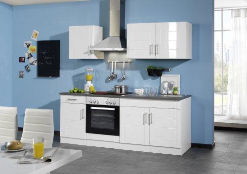 Held Möbel 647.6033 Küchenzeile 210 in Hochglanz-weiß / anthrazit