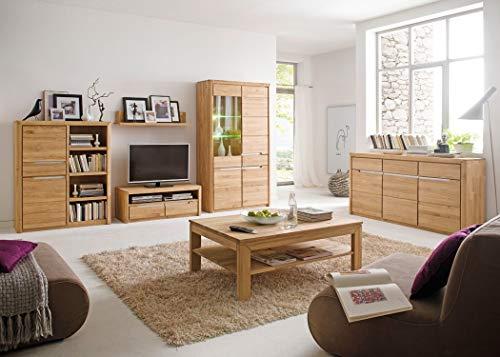 expendio Wohnzimmer Pisa 43 Eiche Bianco massiv 6-teilig Wohnwand Couchtisch Sideboard Wohnmöbel