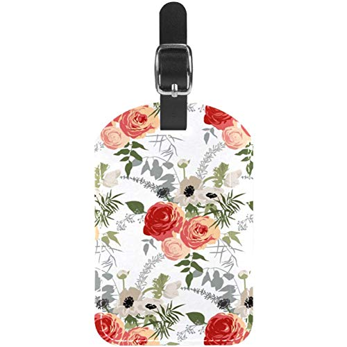 Luggage Tags Roses with Leaves Leather Travel Suitcase Labels 1 Packs