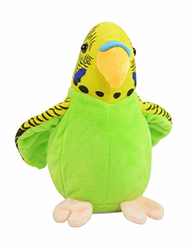 Kögler 75655 - Laber Wellensittich grün Bonita, Labertier mit Aufnahme- und Wiedergabefunktion, plappert alles witzig nach und bewegt sich, ca. 17 cm groß, ideal als Geschenk für Jungen und Mädchen