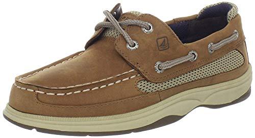 Sperry Lanyard Boat Shoe, Dark Tan/Navy, 7 US Unisex Big Kid