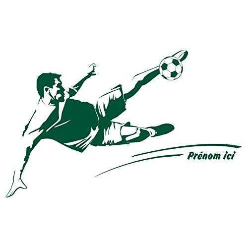 Sticker Footballeur Signature Personnalisable Vert Anglais 60x38 cm