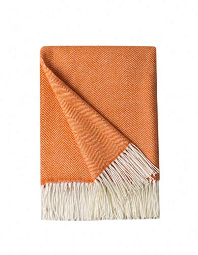 Bourina Decorative Herringbone Faux Cashmere Fringe Throw Blanket Lightweight Soft Cozy for Bed or Sofa Farmhouse Outdoor Throw Blankets, 50' x 60', Orange