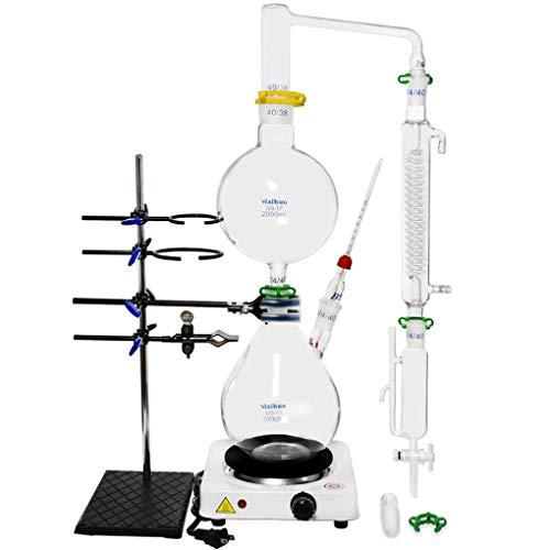 Labordestillationsvorrichtung 2000 ml für Destillation ätherischer Öle, Zuhause, Wasserdestillation