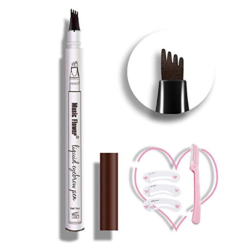 Eyebrow Pen,Microblading Eyebrow Pen Microblade Eyebrow Pencil Tat Brow Micro Ink Brow Pen Eyebrow Tattoo Pen Waterproof & Smudge-Proof With Four Micro-Fork Tips for Daily Natural Eye Makeup