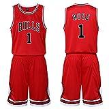 Chicago Bulls Derrick Rose # 1 Jersey Shorts Set-Conjunto clásico sin Mangas, Conjunto de Uniforme de Baloncesto para niños, Hombres y Camiseta de Traje de Canasta Unisex, Letras Cosidas (A,5XL)