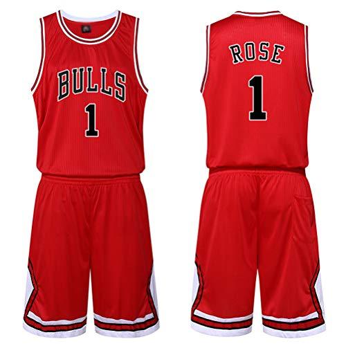 Chicago Bulls Derrick Rose # 1 Jersey Shorts für Kinder Jugend Männer Unisex, Bulls No.1 Shorts, Klassisches ärmelloses Set, Netzanzug Basketball Jersey Set (L,rot)