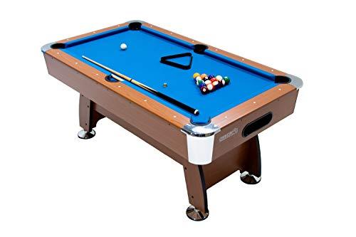 MASGAMES | Billar Masgames Deluxe 6ft | billar más pequeño 183 cm (largo) x 91 cm (ancho) x 79 cm (alto) (Medidas exteriores) | Con retorno de bolas | patas graduables | Accesorios incluidos |