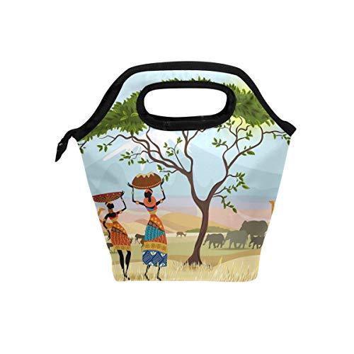 use7afrikanischen Frauen Tasche Mountain Landschaft Isolierte Lunch Tasche Cooler Lunchbox für Picknick Schule Frauen Herren