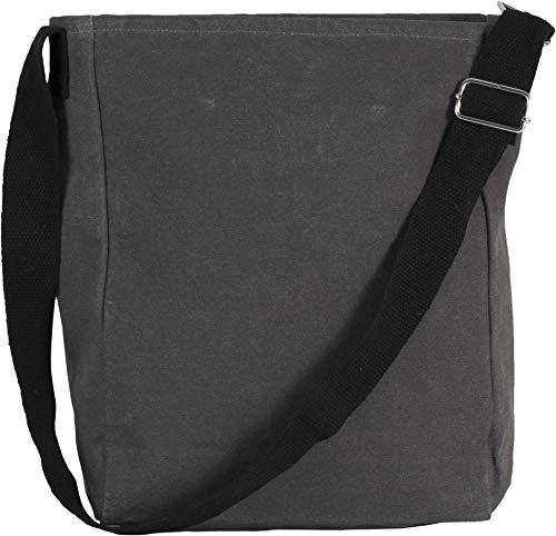 Kimood Sac bandoulière en coton canvas - Washed Dark Grey, One Size, Homme